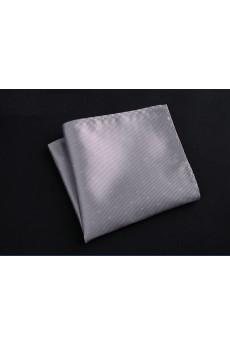 Silver Cotton-Microfiber Blended Pocket Square