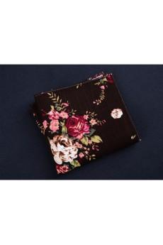 Brown Cotton, Linen Pocket Square