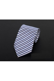 White Striped Microfiber Necktie