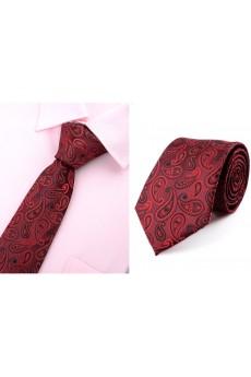 Red Paisley Microfiber Necktie