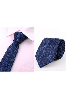 Blue Paisley Microfiber Necktie