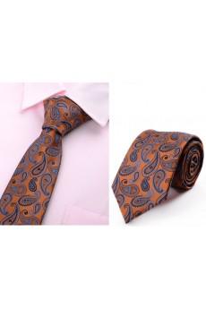 Gold Paisley Microfiber Necktie