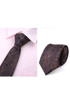 Brown Paisley Microfiber Necktie