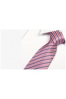 Pink Striped Microfiber Necktie