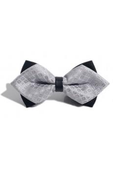 Gray Checkered Microfiber Bow Tie
