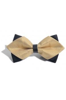 Beige Solid Microfiber Bow Tie