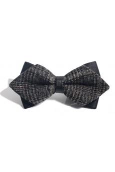 Gray Striped Microfiber Bow Tie