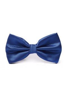 Blue Solid Microfiber Bow Tie