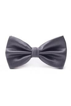 Dark Gray Solid Microfiber Bow Tie