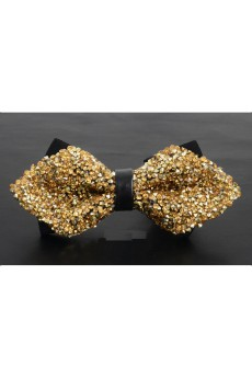 Gold Solid Cotton, Crystal Bow Tie