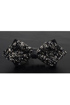 Black Solid Cotton, Crystal Bow Tie