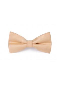 Beige Polka Dot Microfiber Bow Tie