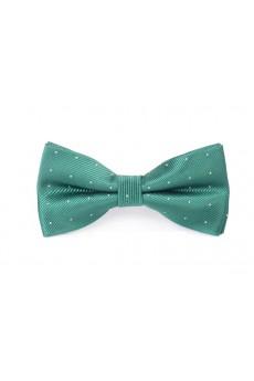 Dark Green Polka Dot Microfiber Bow Tie