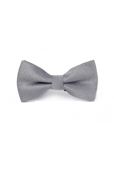 Gray Plaid Microfiber Bow Tie