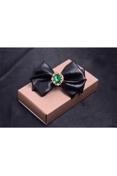 Green Solid Microfiber, Gem Bow Tie