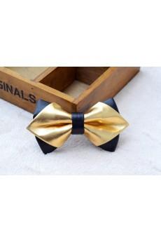 Gold Solid Microfiber, Metal Bow Tie