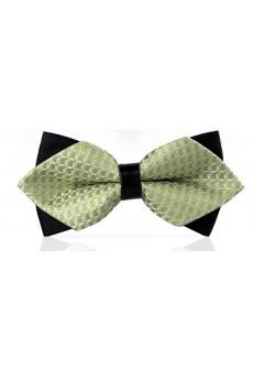 Green Checkered Microfiber Bow Tie
