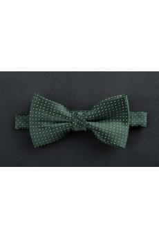 Green Polka Dot Microfiber Bow Tie