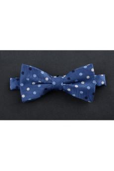 Blue Polka Dot Microfiber Bow Tie