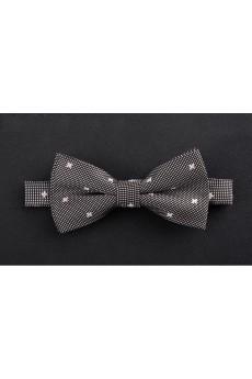 Gray Polka Dot Microfiber Bow Tie
