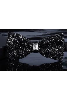 Black Solid Crystal Bow Tie
