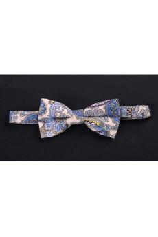Beige Floral Microfiber Bow Tie