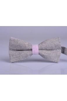 Gray Solid Microfiber Bow Tie