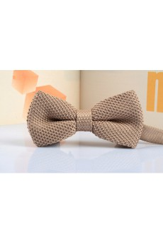 Beige Solid Wool Bow Tie