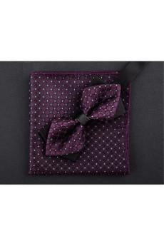 Purple Polka Dot Microfiber  Bow Tie and Pocket Square