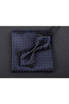 Blue Polka Dot Microfiber  Bow Tie and Pocket Square