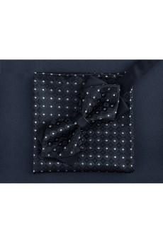 Black Polka Dot Microfiber  Bow Tie and Pocket Square