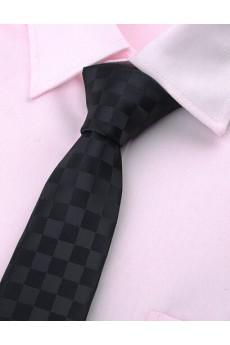 Black Checkered Microfiber Skinny Ties