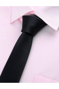 Black Solid Microfiber Skinny Ties