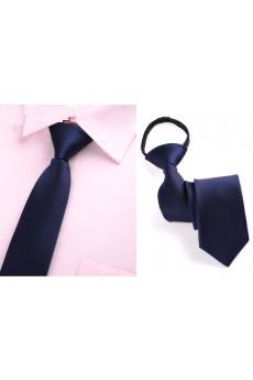 Blue Solid Microfiber Skinny Ties