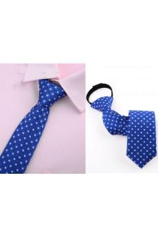 Blue Polka Dot Microfiber Skinny Ties