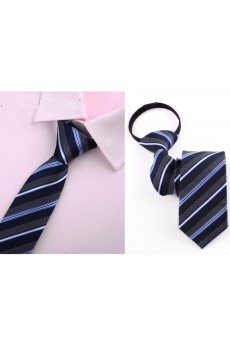 Gray Striped Microfiber Skinny Ties