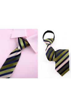 Green Striped Microfiber Skinny Ties