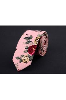 Pink Floral Silk Skinny Ties