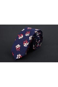 Blue Floral Silk Skinny Ties