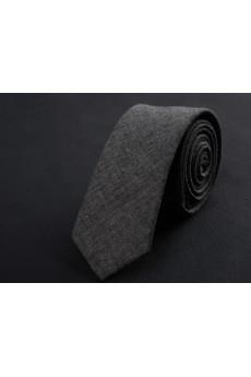 Gray Solid Cotton Skinny Ties