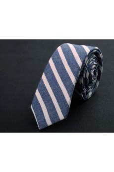 Blue Striped Cotton Skinny Ties