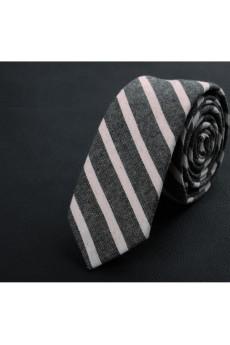 Gray Striped Cotton Skinny Ties