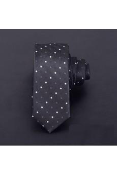 Black Polka Dot Microfiber Skinny Ties