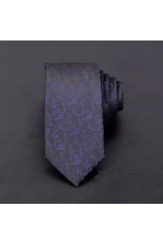 Black Floral Microfiber Skinny Ties