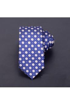 Blue Floral Microfiber Skinny Ties