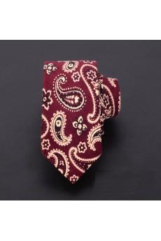 Red Paisley Microfiber Skinny Ties
