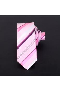 Pink Striped Microfiber Skinny Ties