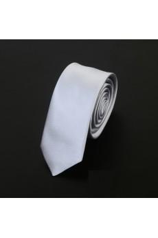 Silver Solid Microfiber Skinny Ties
