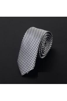 Silver Polka Dot Microfiber Skinny Ties
