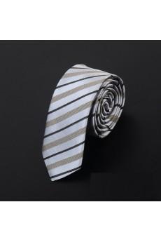 Beige Striped Microfiber Skinny Ties